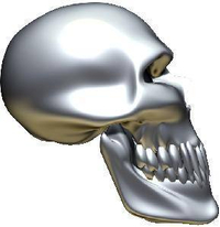 3D Chrome Skull 05 Decal / Sticker