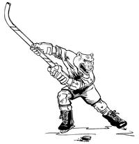 Hockey Bear Mascot Decal / Sticker