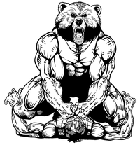 Wrestling Bear Mascot Decal / Sticker 01