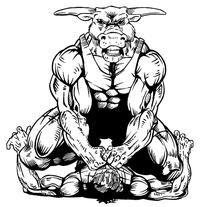 Wrestling Bull Mascot Decal / Sticker 1