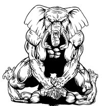Wrestling Elephants Mascot Decal / Sticker 1