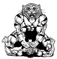 Wrestling Tigers Mascot Decal / Sticker 1