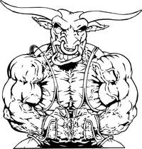 Weightlifting Bulls Mascot Decal / Sticker