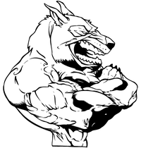 Wolves Weightlifting Mascot Decal / Sticker 1