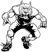 Football Wolves Mascot Decal / Sticker 2
