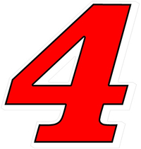 4 Race Number Decal / Sticker 3 color White Shadow