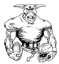 Football Bull Mascot Decal / Sticker 10