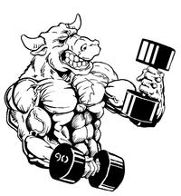 Weightlifting Bull Mascot Decal / Sticker 4