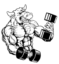 Weightlifting Bull Mascot Decal / Sticker 4