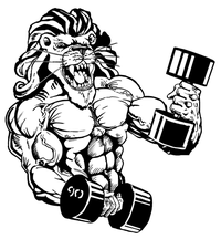 Weightlifting Lions Mascot Decal / Sticker 2