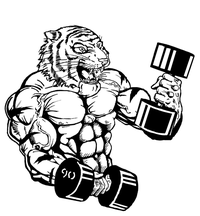 Weightlifting Tigers Mascot Decal / Sticker 2
