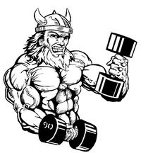 Weightlifting Vikings Mascot Decal / Sticker 2