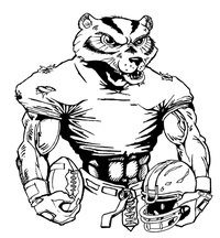 Football Wolverines / Badgers Mascot Decal / Sticker 4
