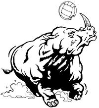 Rhinos Volleyball Mascot Decal / Sticker