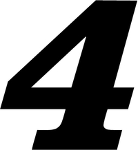 4 Race Number Decal / Sticker SOLID