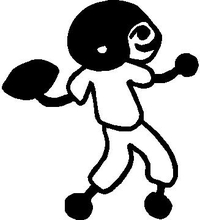 Football Player Stick Figure Decal / Sticker 01