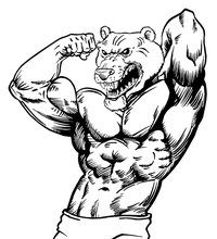 Weight Lifting Bears Mascot Decal / Sticker 02