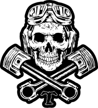 Triumph Piston Skull Decal / Sticker 75