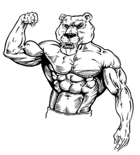 Weight Lifting Bears Mascot Decal / Sticker 03