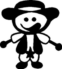 Cowboy Stick Figure Decal / Sticker 01