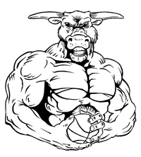 Basketball Bull Mascot Decal / Sticker 6
