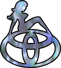Blue Abalone Girl on Toyota Logo Decal / Sticker 09