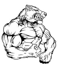 Football Bear Mascot Decal / Sticker 10