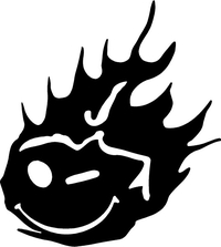 Flaming Happy Face NASCAR Decal / Sticker