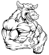 Football Bull Mascot Decal / Sticker 04