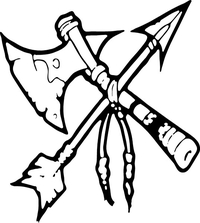 Tomahawk and Arrow Mascot Decal / Sticker