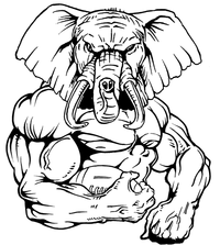 Football Elephants Mascot Decal / Sticker 04