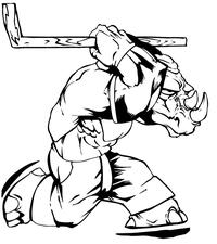 Rhinos Hockey Mascot Decal / Sticker