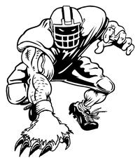 Football Bear Mascot Decal / Sticker 02