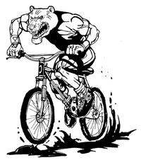Bear Mascot on Bike Decal / Sticker