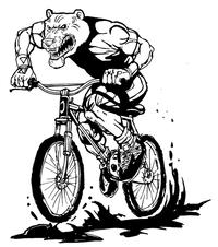 Bear Mascot on Bike Decal / Sticker