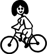 Bicycle Stick Figure Decal / Sticker 03