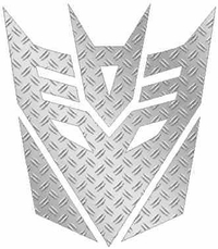 HD Silver Diamond Plate Decepticon Decal / Sticker