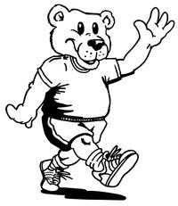 Walking Bear Mascot Decal / Sticker