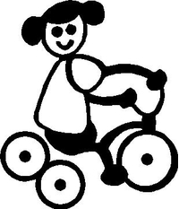 Tricycle Girl Stick Figure Decal / Sticker