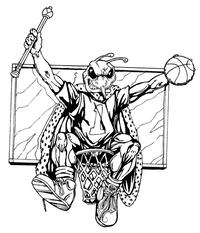 Basketball Hornet, Yellow Jacket, Bee Mascot Decal / Sticker