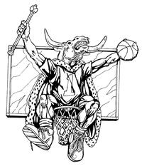 Basketball Bull Mascot Decal / Sticker 2