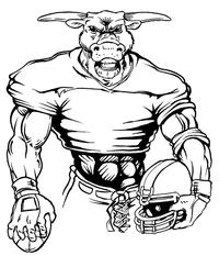 Football Bull Mascot Decal / Sticker 05