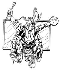 Basketball Elephants Mascot Decal / Sticker 1