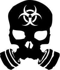 Biohazard Gas Mask Skull Decal / Sticker 03