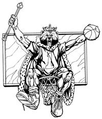 Basketball Bear King Mascot Decal / Sticker