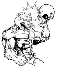 Football Bear Mascot Decal / Sticker 17