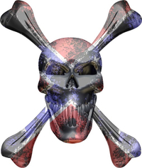 Confederate Flag Skull and Cross Bones Decal / Sticker 08