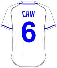 6 Lorenzo Cain White Jersey Decal / Sticker