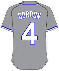4 Alex Gordon Gray Jersey Decal / Sticker