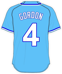 4 Alex Gordon Powder Blue Jersey Decal / Sticker